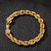 Wholesale twisted chain for man resale online - Hip Hop Bling Iced Out Men s Rapper Bracelet Full A Rhinestone MM Twist Rope chain Bracelets for Men Women Jewelry