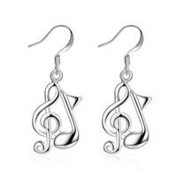 müzik notaları küpeler toptan satış-Müzik Not Küpe S925 Gümüş DangleChandelier Aksesuarları Küpe Trendy Şık Benzersiz Tasarım Bayanlar Yılbaşı Hediyeleri POTALA961
