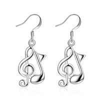 Wholesale music notes earrings for sale - Group buy Music Note Earrings S925 Sterling Silver Dangle Chandelier Accessories Earring Trendy Stylish Unique Design Ladies Christmas Gifts POTALA961