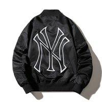 nova iorque streetwear venda por atacado-NEW YORK dos homens jaquetas de grife de luxo bordado NY bomber jacket outono inverno fina espessura casacos de beisebol homens revestimento preto streetwear S-3XL