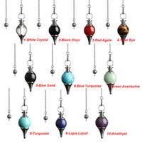 encantamentos circulares venda por atacado-JLN Dowsing Pêndulo Equilíbrio Reiki Pedra Natural Cristal Ágatas Vermelhas Cone Circular Charme Pingente para Mulheres Dos Homens Adivinhação Meditação
