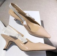 Wholesale nude bow sandal resale online - Summer fashion comma heel Sling back pump Bow Letter Bandage flat Heel Shoes woman Runway Pointed Toe Gladiaor Sandals size35