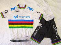 pantalones cortos acolchados al por mayor-Movistar 2019 manga corta ciclismo jersey establece primavera otoño Tour de France Bisiklet desgaste bicicleta maillot ropa ciclismo bicicleta MTB 9D pad