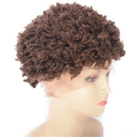 Wholesale wig curly 27 for sale - Group buy Kinky Curly Human Hair Wig with Lace Front Short Cambodian Colored Hair Wig for Black Women