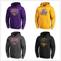 sudadera púrpura al por mayor-NCAA LSU Tigers fanáticos Branded Escuela de Fútbol Nacional Playoff 2019 Champions Sudadera con capucha para hombre sudaderas de diseño impreso Logos púrpura