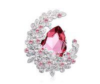 Wholesale african apparel resale online - fashion jewelry Using Swarovski Elemental Crystal Brooch High end Pin Flower Moon dense Fashion apparel Brooches