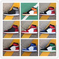 pato de sombra venda por atacado-Homens Mulheres 1 S Sapatos de Basquete 1 Preto Roxo Verde Vermelho Toes Flash Mandarim Pato Chicago Proibir Sombra Cinza Escuro Atlético calçados