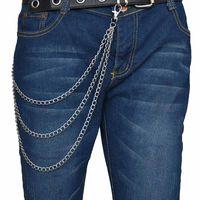 Wholesale chain link belts for women resale online - 3 Layer Rock Punk Hook Trouser Pants Waist Link Belt Metal Wallet Silver Chain Hip Hop Chain Belts For Women Pants Accessories