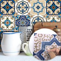adesivos de azulejos impermeáveis venda por atacado-O marroquino telha PVC Auto impermeável adesiva Wallpaper mobília do banheiro DIY Azulejo árabe etiqueta casa partido decoração 15 * 15cm / 20 * 20cm FFA2198-1