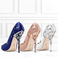 blaue hochzeitspumpen groihandel-Blumenhochzeitsschuhe Seide eden High Heels Schuhe für Hochzeitsabend Party Prom Schuhe Rot Blau Weiß Schwarz Auf Lager