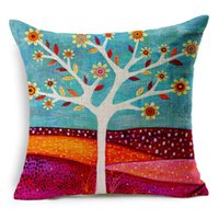 fundas sofas großhandel-Natural Style Fashion New Cushion Tree Print Kissen Bett Sofa Home Dekorative Kissen Fundas