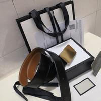 gürtelschnalle männer frauen schwarz groihandel-heiße neue schwarze Luxus hochwertige Designer-Mode-Gürtel Goldschnalle Männer und Frauen Gürtel + Gurtkasten