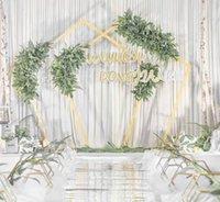 ingrosso stand di tubo nero-NUOVO 2.3MX2.3 M da sposa fiore stand da parete in ferro nero piegato tubo cornice del fiore per la decorazione della festa nuziale forniture