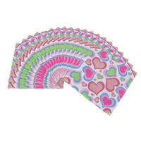 ingrosso decorazioni da tavolo da party-100Pcs Colorful Love a forma di cuore di carta stampata Tissues Home Wedding Engagement Party Birthday Table Decoration Asciugamano di carta