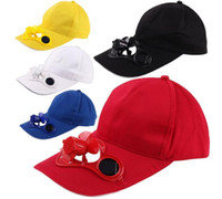 sombreros de ventilador de energía solar al por mayor-Solar Power Hat Cap Ventilador de enfriamiento para el Golf Béisbol Deporte Verano Sol al aire libre Solar Sun Cap Con Ventilador Coolbacks Gorra de béisbol