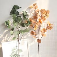 plantación de manzano al por mayor-Artificial Plástico Eucalipto rama de árbol para la decoración de la boda de Navidad Hoja de Apple Arreglo de flores pequeñas hojas planta de follaje de imitación