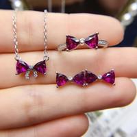 anel de gravata de prata venda por atacado-bow tie brincos de argola granada de pedras preciosas e jóias colar set com prata