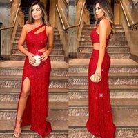 un vestido de hombro rojo al por mayor-2019 Sexy Red Split vestidos de noche vaina un hombro Sparkle lentejuelas vaina mujeres ocasión Vestidos baratos vestidos de fiesta de corte BC1663