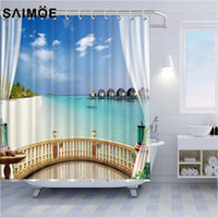 Wholesale shower curtain fish resale online - Tourist Resort Hotel Sea View Bath Curtains Boardwalk In The Water Shower Curtains Submarine Coral And Fish Bathroom Shower Curtain
