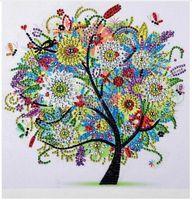arte da parede do painel da dança venda por atacado-Diamante Bordado Flor de Inverno Árvore Em Forma de Diamante Especial Pintura Needlework Strass 5d Broca Pintura De Cristal DIY