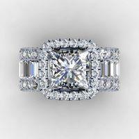 anillos de boda celtas vintage al por mayor-Corte anillo de los amantes de la vendimia 3ct diamante 925 anillo de compromiso anillo de bodas de plata de ley para los hombres de las mujeres regalo de la joyería de dedo