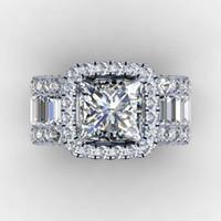 eski elmas mücevherat toptan satış-Vintage Severler Mahkemesi halka 3ct Elmas 925 Ayar gümüş Nişan düğün band yüzük kadın erkek Parmak Takı Hediye için