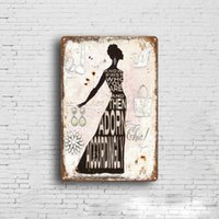 Wholesale vintage style posters resale online - 5 styles Lady Retro Plate Metal Motor Vintage Craft Tin Sign Retro Metal Painting Poster Bar Pub Wall Art Decor Art Pictures cm