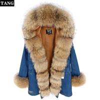 Wholesale cotton dog collars resale online - Cartoon Embroidery Thick Denim Jacket Ladies Hoodies Raccoon Fur Collar Plus Velvet Women Warm Long Cotton Suit Coat Detachable