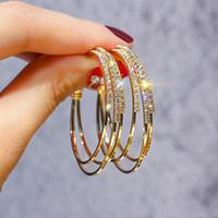 corea joyas de lujo al por mayor-2019 Fashion Korea Women Luxury Exquisite Rhinestone Hoop Earrings Triple Layer Geometric Big Circle Piercing Earings Jewelry