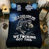 skull bedding al por mayor-Juego de ropa de cama de calavera Juegos de funda nórdica tamaño Queen Ropa de cama sin edredón y almohadas Relleno de inserción