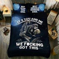 skull bedding toptan satış-Kafatası Nevresim Takımı Kraliçe Nevresim Takımı Nevresim Takımı ve Yastıklar
