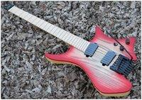 alevli akçaağaç kırmızısı toptan satış-Fabrika Özelleştirilmiş Popüler Başsız Stil Modeli Renk Kırmızı Patlama Gitar Alev Maple Leaf Boyun, Özel Renk Etiketi