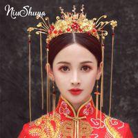 acessórios chinês bead venda por atacado-Acessórios de cabelo Red Bead nupcial do casamento NiuShuya Oriental Chinese Crown Vintage jóias de ouro longa borla Pageant Crowns Tiaras