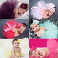sevimli bebek fotoğrafları çiçekler toptan satış-Fotoğraf bebek çocuklar için belirlenen Moda bebek saç bandı Tutu etek kulak çiçek hairbands set sevimli prenses dantel etekler headdress tavşan