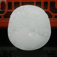 ingrosso monili cinesi di arte-Fine Jewelry Hetian White Jade Folk Art ciondolo intagliato a mano collana rospo rospo spedizione gratuita