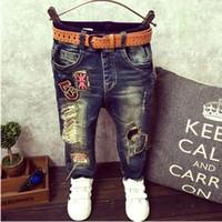 bebês meninos moda jeans venda por atacado-IENENS Primavera Crianças Meninos Do Bebê Fino Jeans Reta Moda Criança Calças Buraco Quebrado Crianças Jovens Menino Denim Calças Roupas