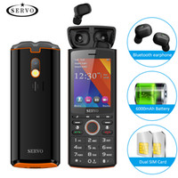 Wholesale power bank dual lcd resale online - 6000mAh Power Bank quot LCD SERVO R25 Unlocked Dual Sim Card Powerful Torch Cell Phone V5 Bluetooth Earphones for Android iOS Smartphone