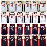 basketbol mayo mavi beyaz toptan satış-1996 ABD Basketbol Jersey Rüya Üç 4 Charles Barkley 6 Penny Hardaway 8 Scottie Pippen 15 Hakeem Olajuwon Amerikan Lacivert Beyaz