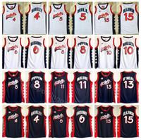 pence jersey al por mayor-1996 US Basketball Jersey Dream Three 4 Charles Barkley 6 Penny Hardaway 8 Scottie Pippen 15 Hakeem Olajuwon American Navy Blue White