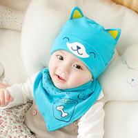 Wholesale summer infant set resale online - Kids Baby Boy Girl Spring Summer Hat For Infant Cotton Soft Warm Caps Beanie Cap Accessories Set