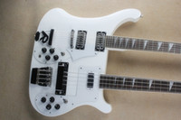 Wholesale custom electric guitar necks online - Double neck white string string electric guitar with white pickup rosewood scale custom service