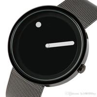 yuvarlak arama analog saat toptan satış-Erkekler Ultra Ince Tam Çelik Hasır İzle Benzersiz Nokta ve Çizgi Tasarım Rahat Moda Kuvars Saatler Yaratıcı Yuvarlak Dial Erkek Saat Reloj Hombre