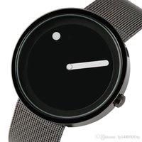 montre-bracelet à pois achat en gros de-Hommes Ultra Mince Plein Acier Mesh Montre Unique Point et Ligne Design Casual Mode Montre À Quartz Créatif Rond Cadran Mâle Horloge Reloj Hombre