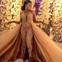 Wholesale purple luxury crystal beaded dress online - 2019 Classic Jumpsuits Prom Dresses With Detachable Train Long Sleeves Lace Appliqued Evening Gowns Luxury African Party Women s Pant Suits
