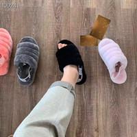 mulheres inverno botas peludas venda por atacado-2019 Designer De Luxo Sapatos Femininos Austrália Fluff Yeah Designer de Slides Furry Slides Chinelos De Pele Sapatos Casuais Botas de Inverno Explosões
