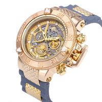 relojes de acero inoxidable al por mayor-2019 INVICTA Luxury Gold Watch Todas las subesferas que trabajan Hombres Relojes deportivos de cuarzo Cronógrafo Fecha automática banda de goma Reloj de pulsera para hombre regalo