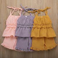 bio-bekleidung designer großhandel-Designer Kinder Mädchen 2 Stück Sommer ärmellose Bio-Leinen Baumwolle Kleider Rüschen elastische Taille Kleider + Hosen Anzüge Kinder Mädchen Kleidung