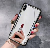 Wholesale rhinestone mirror for phones for sale – best For iPhone X S Plus for diamond Samsung Galaxy S8 S9 Plus Note Phone Case Luxury Bling Rhinestone Mirror TPU for iphone xs max Cover