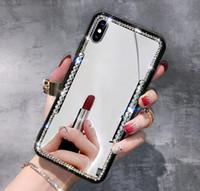 miroir strass pour les téléphones achat en gros de-Pour iPhone X 6S 7 8 Plus pour diamant Samsung Galaxy S8 S9 Plus Note 8 Téléphone Cas De Luxe Bling Strass Miroir TPU pour iphone xs max