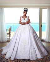 vintage tatlım toptan satış-2019 Orta Doğu Beyaz Balo Gelinlik Aplikler Sweep Tren Sevgiliye Boyun Gelin Kıyafeti vestido de novia BC1917